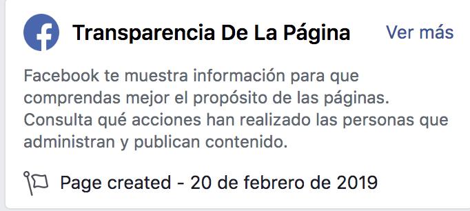 """Facebook incorpora una nueva función de """"transparencia de la página''."""